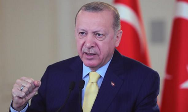 Cumhurbaşkanı Erdoğan'ın KKTC'de yapımı süren Su İletim Yapııları Tüneli ışık görme töreninde konuşuyor