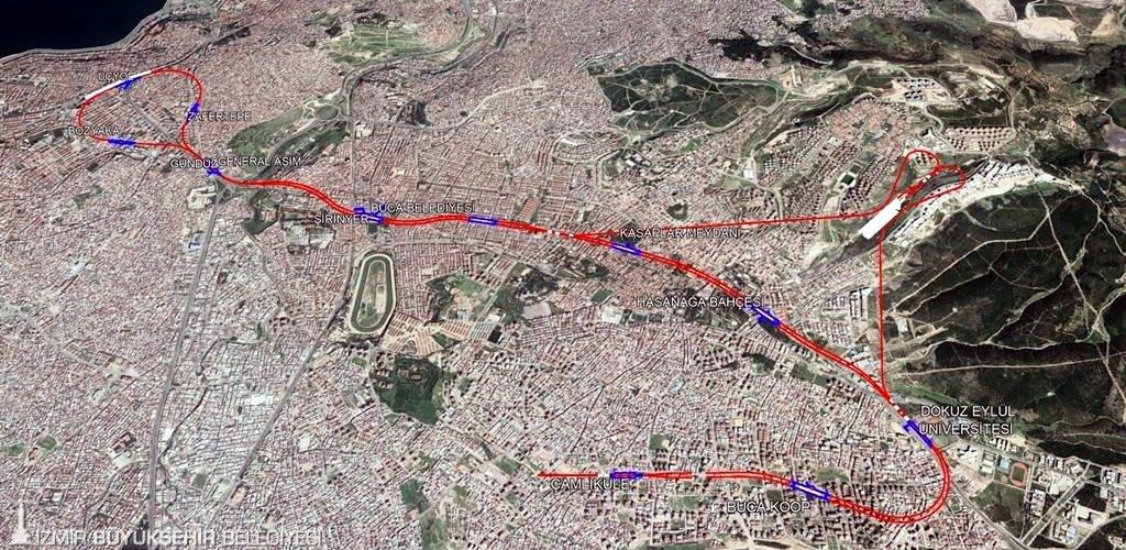 Üçyol-Buca Metrosu güzergahI haritası