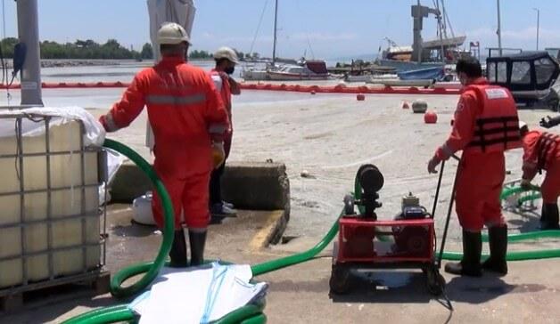 Caddebostan Plajı müsilaj (Deniz salyası) temizleme çalışması