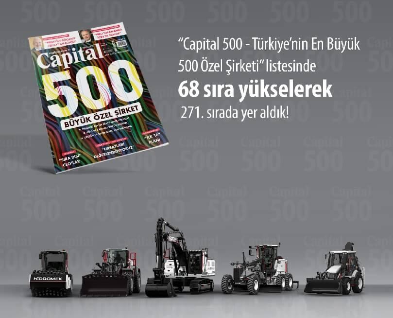 HİDROMEK 2021 yılı Capital 500 listesinde 271'inci sırada yer aldı